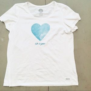 LIFE IS GOOD WOMENS XL SHIRT WHITE WITH BLUE HEART
